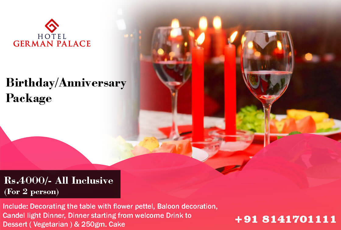Best Birthday/Anniversary Package in Ahmedabad Hotel Near Airport Koba Highway Hotel German Palace | Luxurious Rooms Standard Rooms, Suites, Veg & Non Veg Restaurant, Meeting Halls & Conference Hall, Wedding Halls & Banquets Hall Near Airport Road Ahmedabad, Gandhinagar Railway Station, Mahatma Mandir